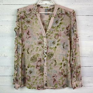 KUT From The Kloth Blouse Floral Ruffle Sheer